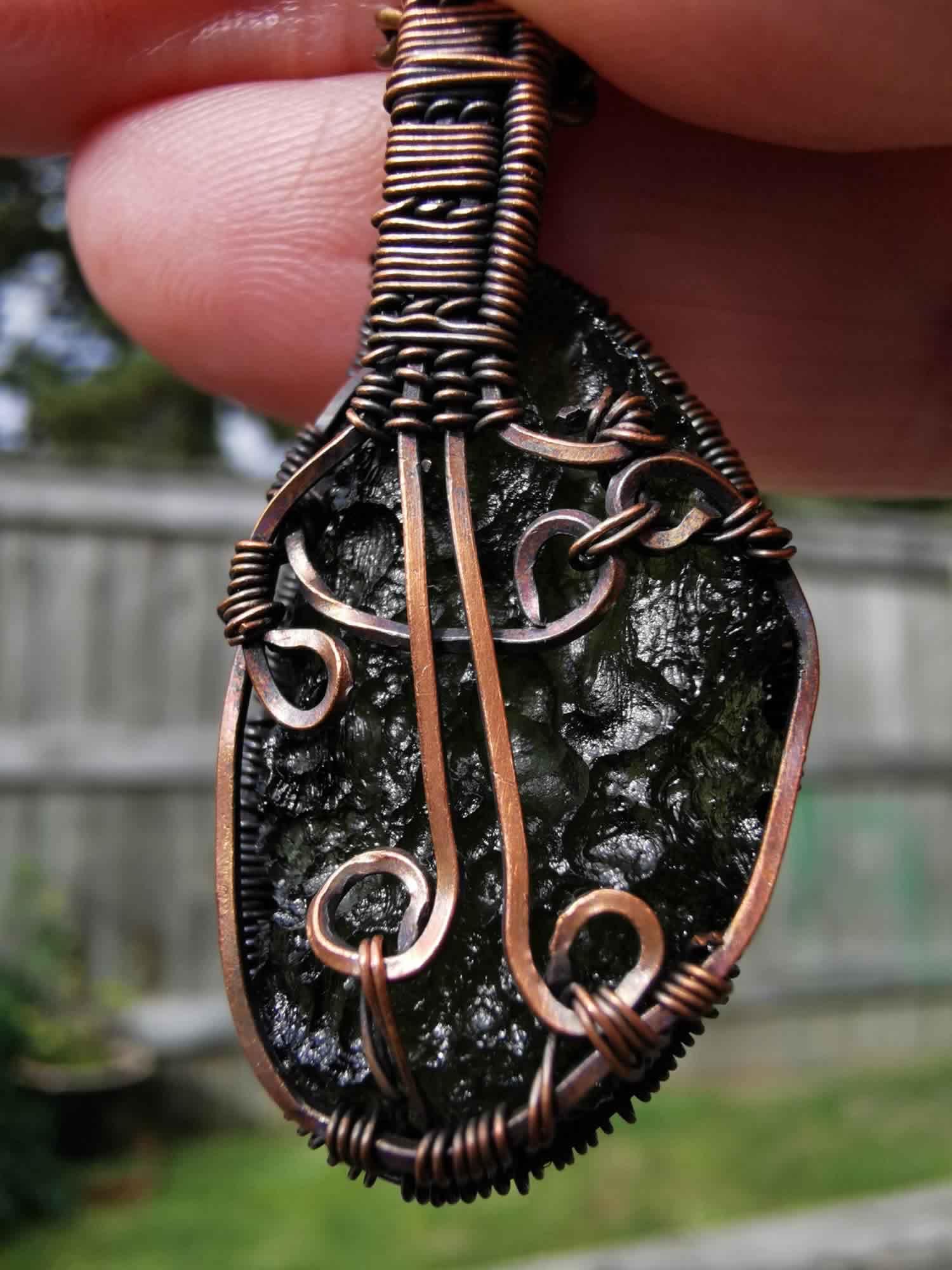 Chlum Moldavite in Copper Wire Wrap